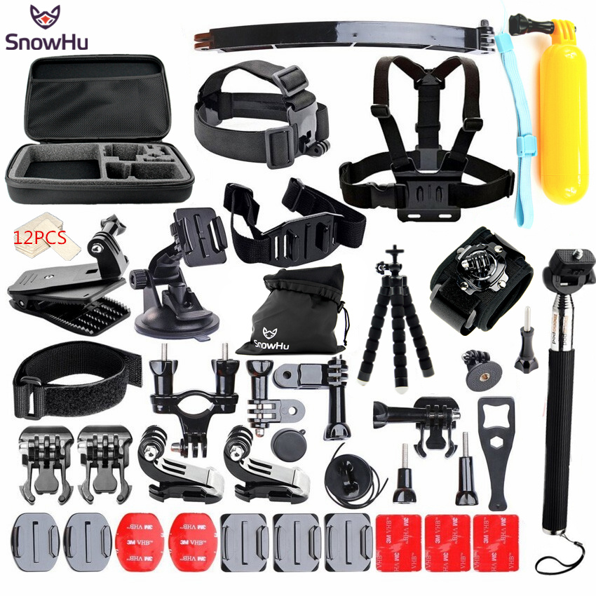 SnowHu for Gopro Accessories set for go pro hero 5 4 3 kit mount for SJCAM SJ4000 for xiaomi yi camera for eken h9 tripod GS24 цена
