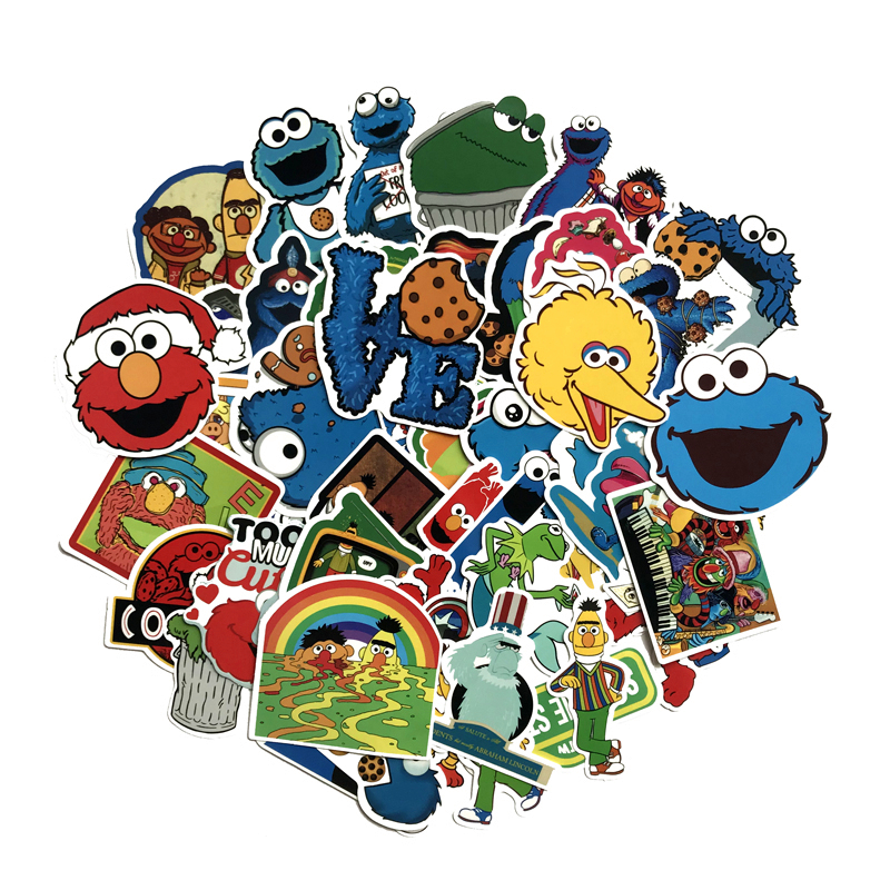 TD ZW 50Pcs/lot Sesame Street Stickers For Snowboard Laptop Luggage Car Fridge DIY Styling Vinyl Home Decor Stickers Pegatina
