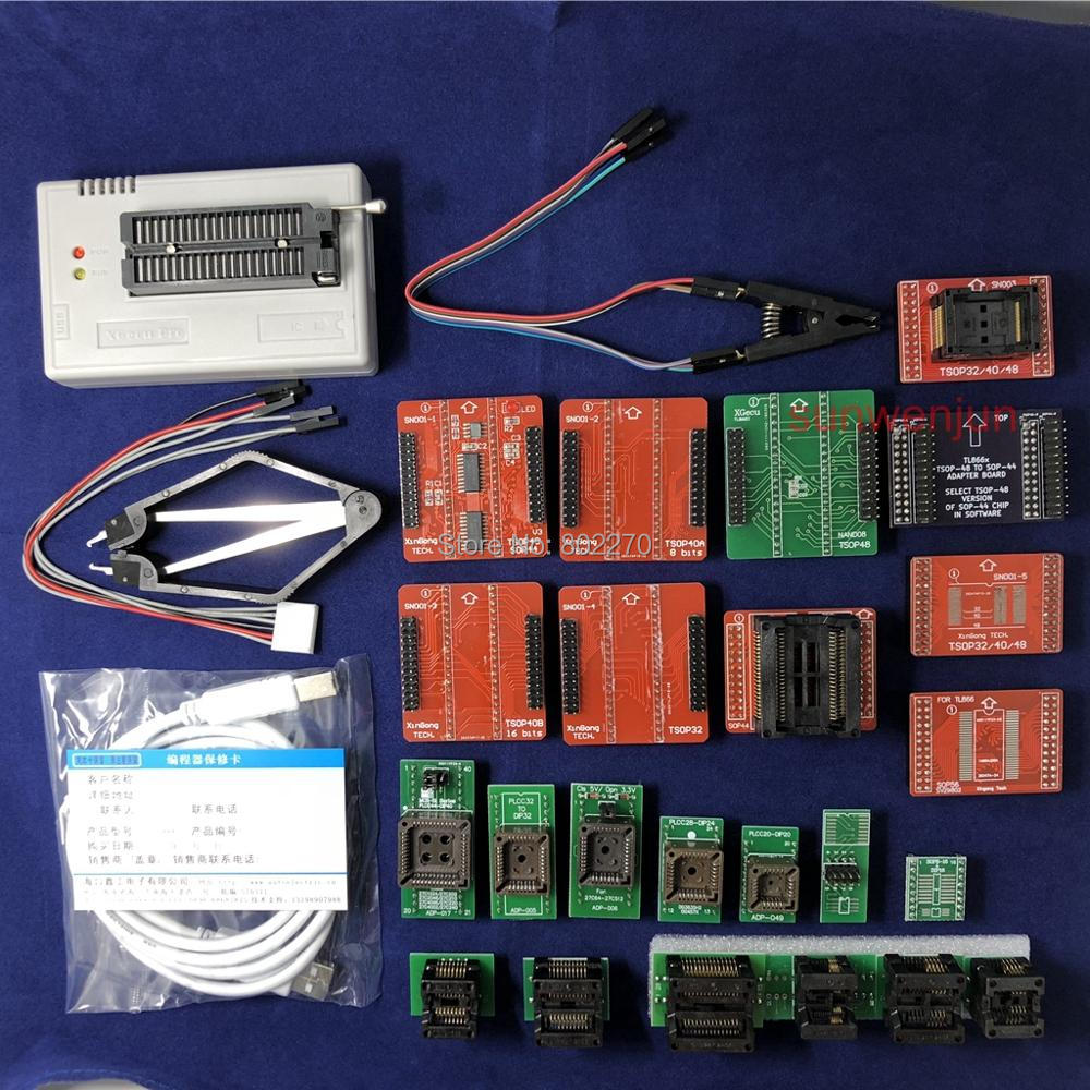 Black Edition V7.30 XGecu TL866II Plus USB Programmer 15000+IC SPI Flash NAND EEPROM MCU PIC AVR+ 23PCS ADAPTER+SOIC8 Testclip usb tl866cs programmer eprom spi flash avr gal pic 9pcs adapters test clip 25 spi flash support in circuit programming adapter