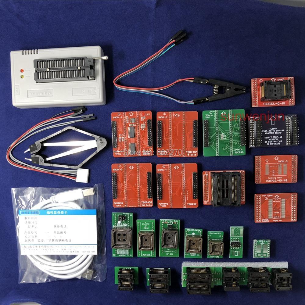 Noir Édition V7.30 XGecu TL866II Plus USB Programmeur 15000 + IC SPI Flash NAND EEPROM MCU PIC AVR + 23 pcs ADAPTATEUR + SOIC8 Testclip
