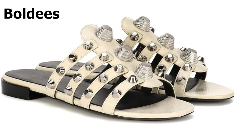 New Leather Women Slippers Flats Casual Women Shoes Slip On Slides Beach Slippers Flip Flops Sandals Fashion Rivets Slipper 46 fashion women flat heels shoes slip on pointed toe flats fringed women shoes slippers casual flip flops sandals slides women page 4 page 5 page 5 page 2 page 2