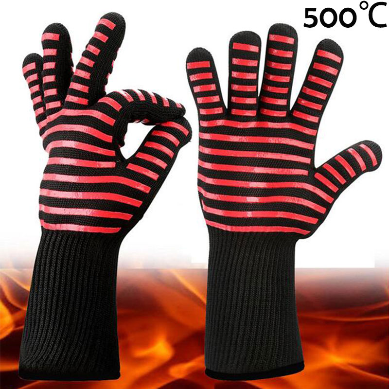 NMSafety Aramid Fire Insulation Gloves with BBQ Heat resistant oven kitchen glove 1 pair free shipping aramid fire insulation gloves heat resistant glove 932f bbq glove oven kitchen glove direct supply