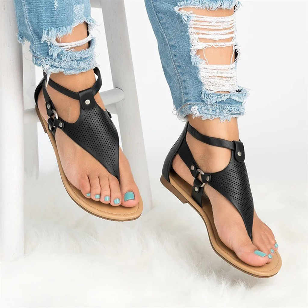 2019 Summer Women's Sandals Solid PU Leather Casual Rome Sandals Hollow Out Open Toe Zipper Flat Sandals Female Flip Flop Sandal