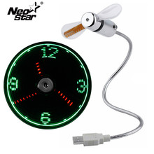 Mini USB Fan Gadgets LED Clock For laptop PC Notebook Time Display Real Time Temperature Display Ventilador USB цены онлайн