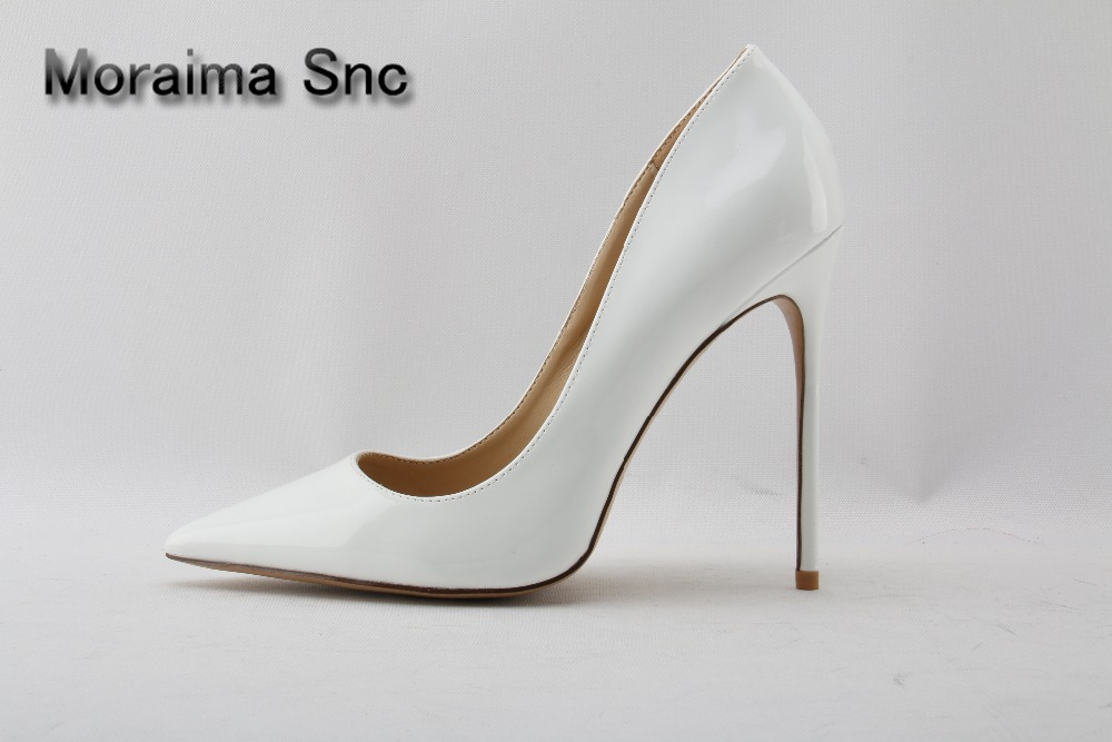 Moraima Snc brand White Patent Leather High Heel Shoes 2018 Pointed toe Woman Pumps Slip-on Stiletto Heels Thin heels Shoes 12cm sequined high heel stilettos wedding bridal pumps shoes womens pointed toe 12cm high heel slip on sequins wedding shoes pumps