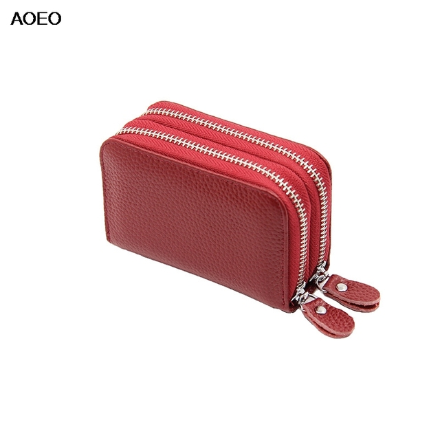 246673adb803 AOEO Double Zipper Genuine Leather Purse Women Men Unisex Mini Small Bag  Driver Lisence Coin Purse