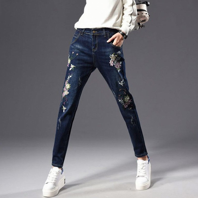 Elástico 40 26 Harén Pantalones 2019 Tamaño Mujer Plus Vaqueros De Skinny Bordado Floral Suelto Blue Nuevo Otoño 7p5q4nxZq