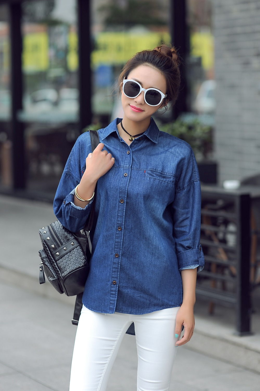 Mujeres de Jeans camisas RTERATHREE QU blusas femeninas
