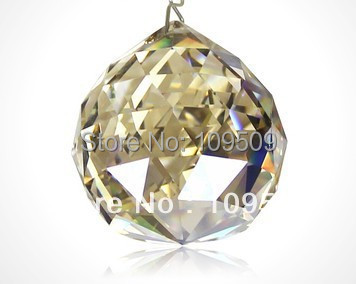 Free Shipping,10pcs/lot 40mm Cognac Color Faceted Chandelier Crystal Prism Ball suncatcher
