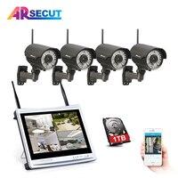 ARSECUT WIFI 4CH 12 Inch 1080P HD NVR Kit CCTV IR NightVision Bullet IP Camera Security Outdoor Waterproof WIFI Surveillance Kit
