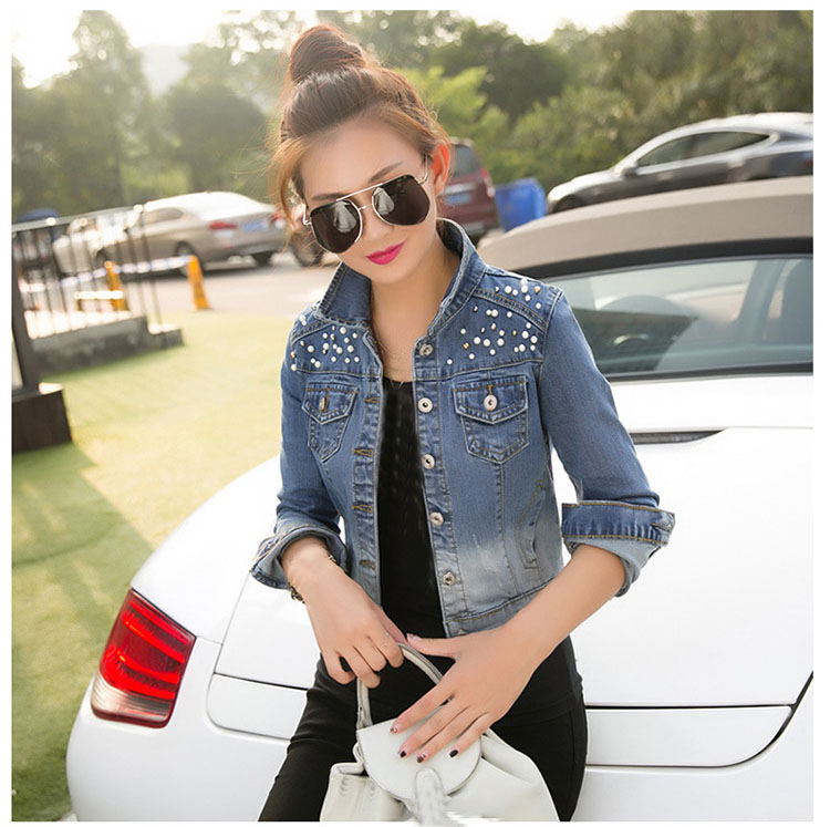 Women Pearls Slim Denim   Jacket   Turn-Down Collar Short   Basic     Jacket   Turn-Down Collar Casual Long Sleeve Jeans   Jacket