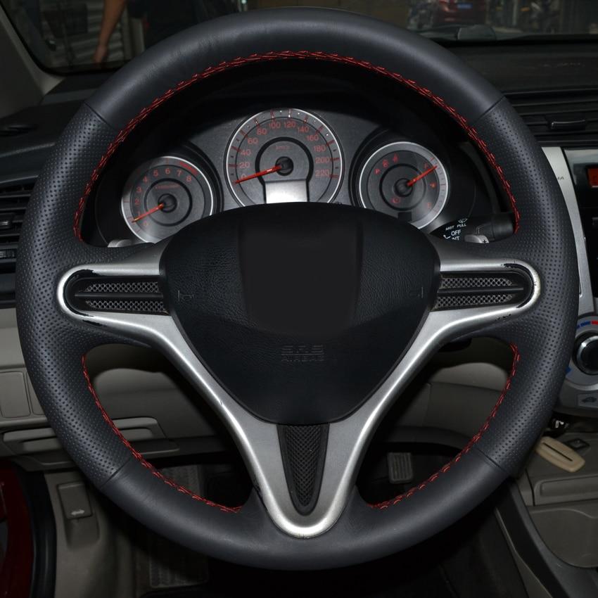 AOSRRUN bilstyling Läder Handstygd bil ratt kåpa till Honda Civic - Bil interiör tillbehör - Foto 2