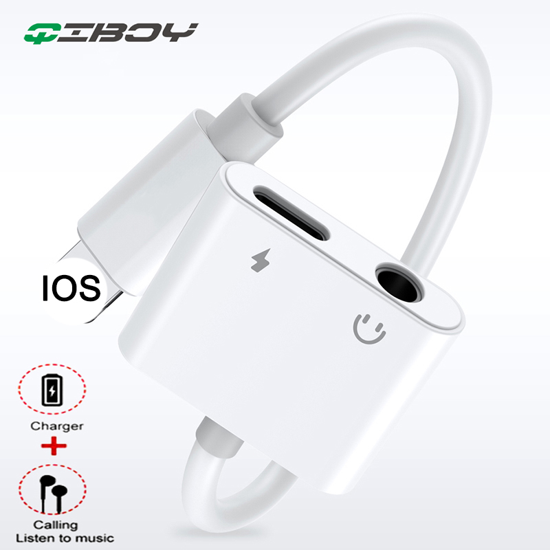 For IPhone Lighting To 3.5 Mm Headphone Jack Adapter 2 In 1 For IPhone X 7 8 Plus XS OTG Play Aux Audio Converter IOS 12 System