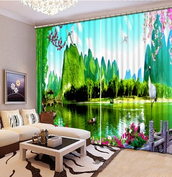 green curtains 3D Curtain Luxury Blackout Window Curtain Living Room Blackout curtain
