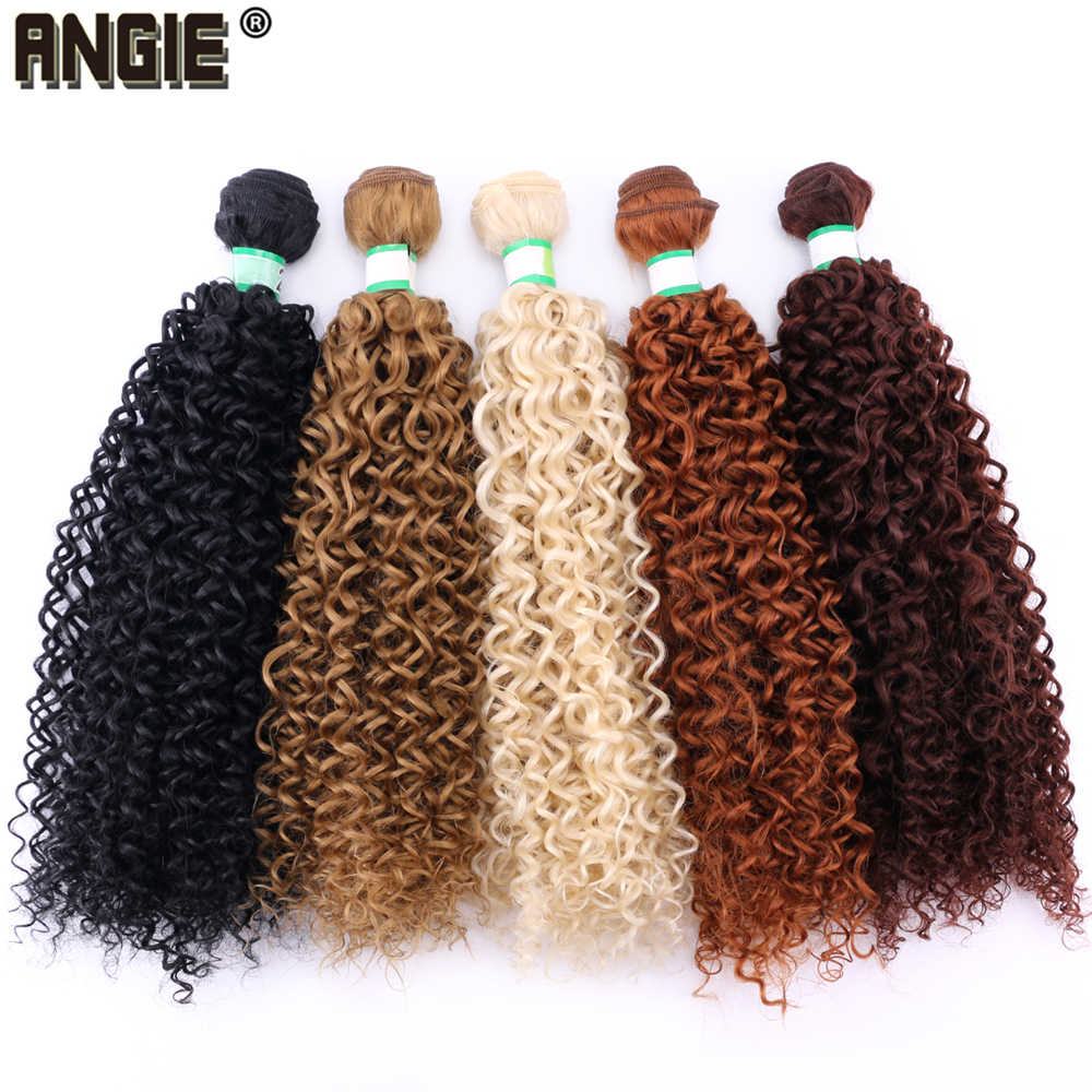 100 Gram/pcs 8-30 inch Afro Kinky Curly Hair Extension golden pure color Bundles Heat Resistant Synthetic Hair Weaving for Women