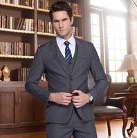 Male suits work wear slim ternos suit mens groom married commercial dark gray jaqueta masculino blazer men jacket + pant + vest