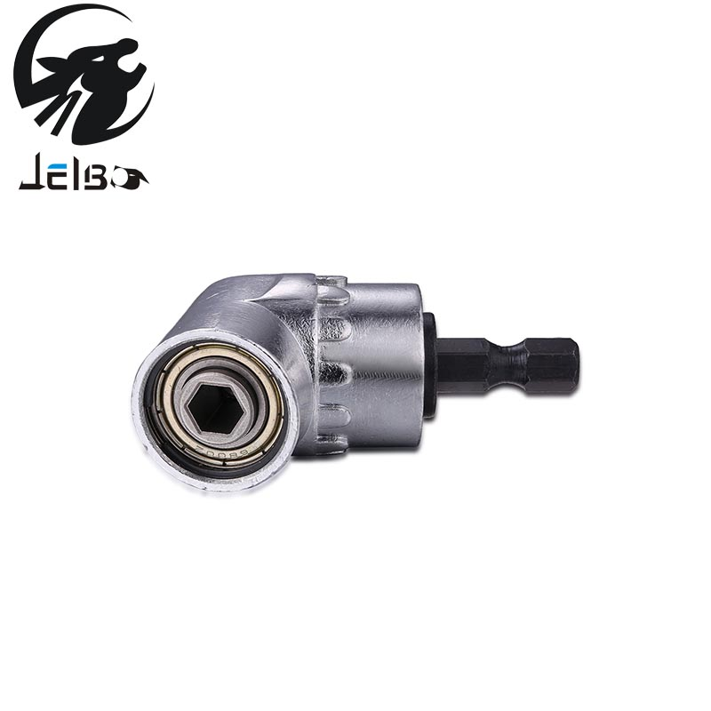 Jelbo 105 Degree Right Angle Driver Angle Extension Power Screwdriver Drill Attachment 1/4inch Hex Bit Socket Holder Adapter right angle drill attachment three jaw chuck key adapter handle accessory tool