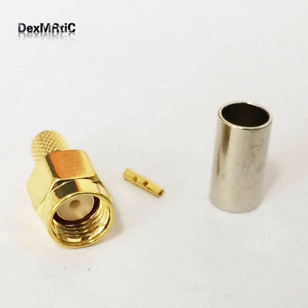 RP-SMA Male Plug  RF Coax Connector Crimp for  RG58,RG142,RG400,LMR195  Straight Goldplated  NEW wholesale