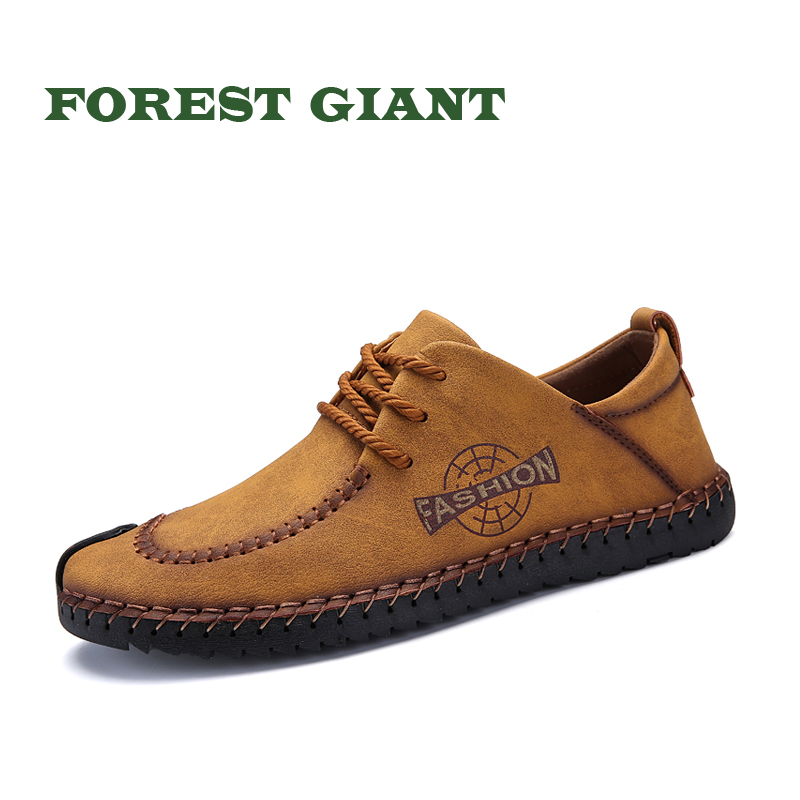 FOREST GIANT Cow Suede Leather Shoes Men Spring Autumn Fashion Lace up Suede Leather Loafers Men Casual Shoes Big Size 46 1809