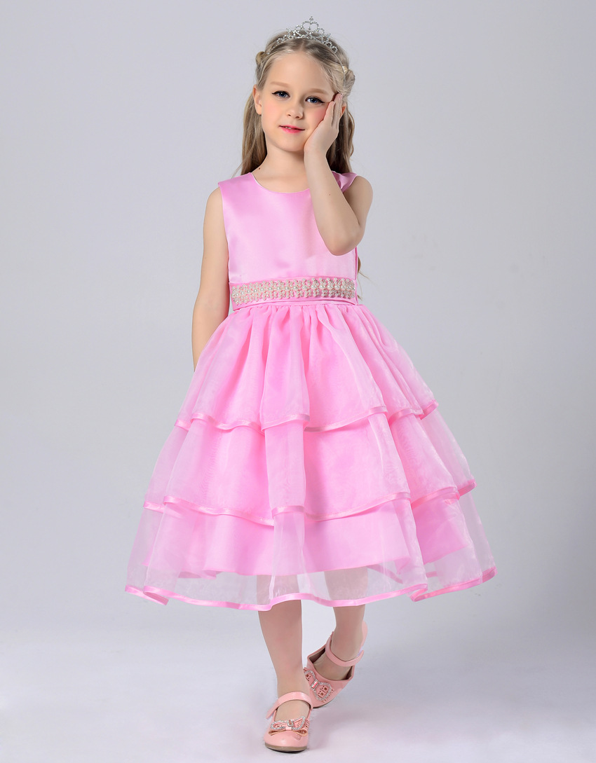b7a79e0830b59 2016 Nouveau Printemps été Fleur Fille Robes De Mariée Rose Mignonne  Princesse Tutu Bébé Filles Dentelle Robe De Soirée Enfants Vêtements 2 à 13  ans