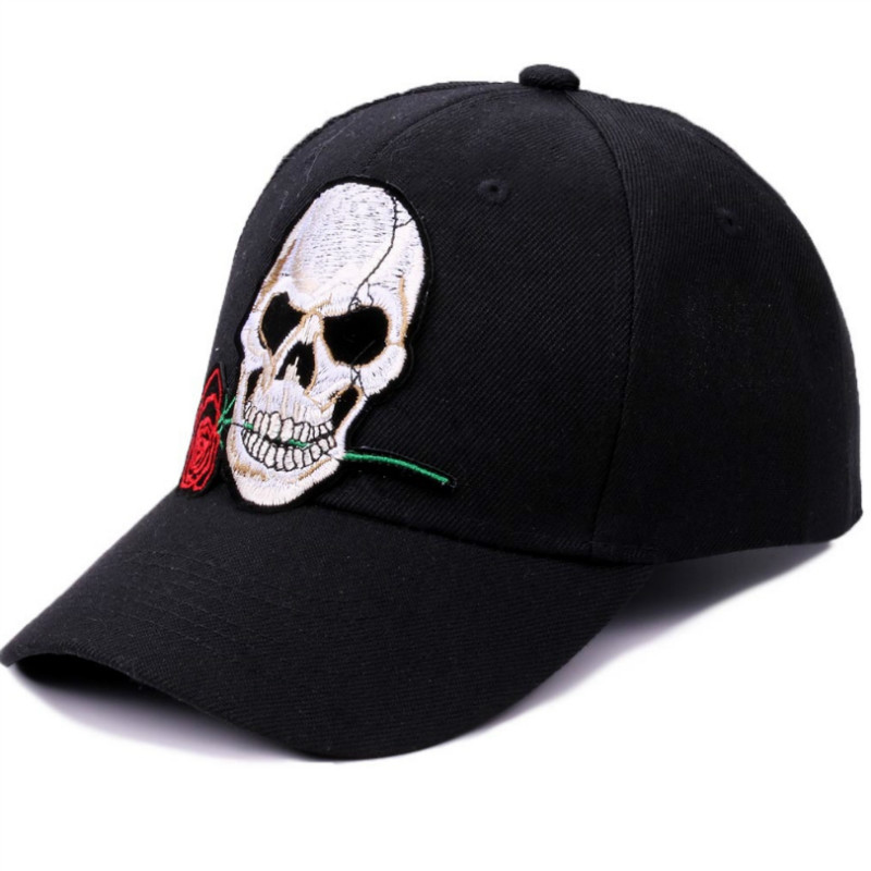 Rose Skull Embroidery Summer Baseball Cap Women Casual Travel Cotton Snapback Hat Caps For Girls Men Basic Black Vintage Hat 2016 feammal new rose floral embroidered casquette polos baseball caps cotton strapback black pink rose for women sport cap