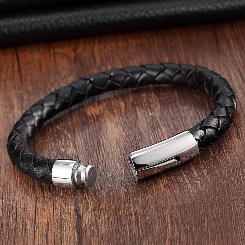 XQNI 2017 Fashion Stainless Steel Chain Genuine Leather Bracelet Men - Fashion Jewelry