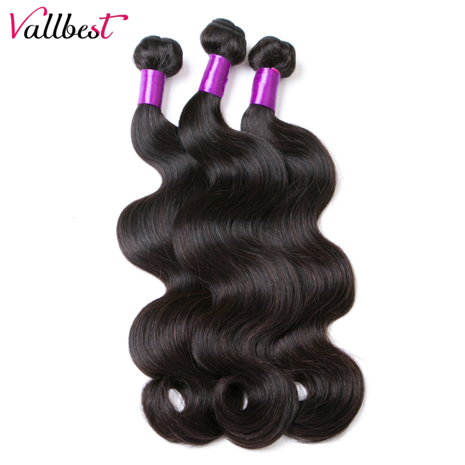 Vallbest Brazilian Body Wave 3 Bundles/Lot Human Hair Weave Extension 1B Natural Black Remy Hair 300g 100% Can Be Dyed Weft