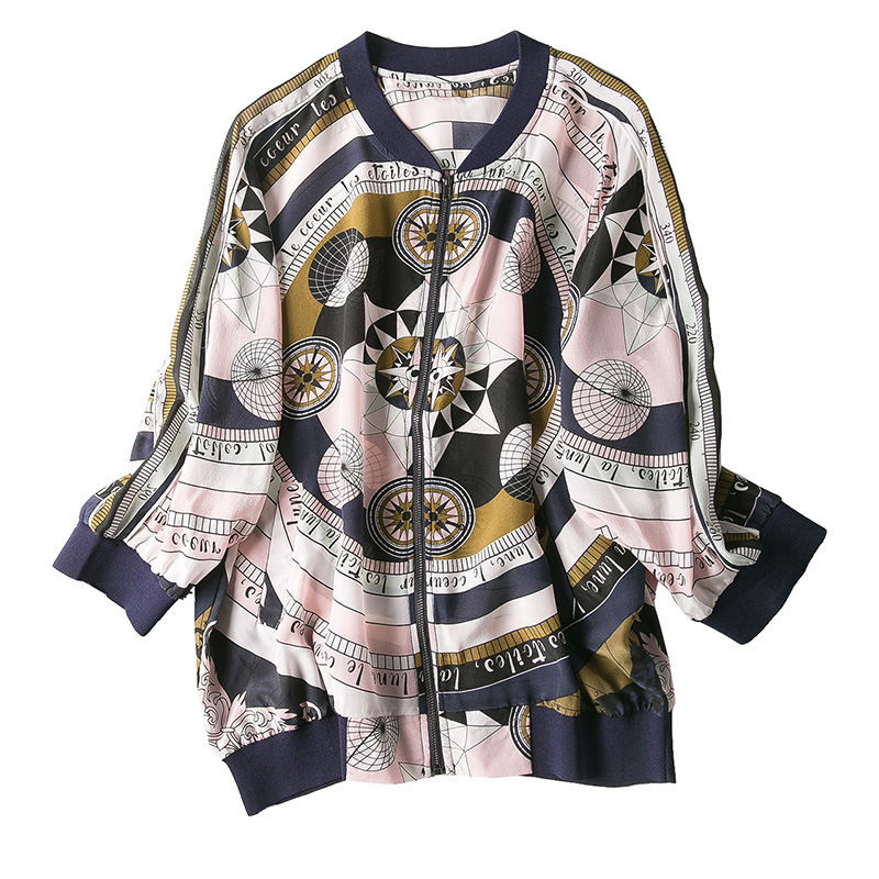 New baseball collar printed silk air conditioning cardigan is prevented bask in clothes - 5