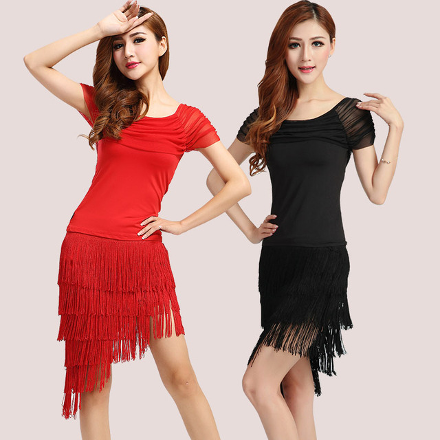 d9e1f58fba26 Black red Latin dance dress Special offer latin dance dress women Latin  dance costume latin salsa dresses fringe dress