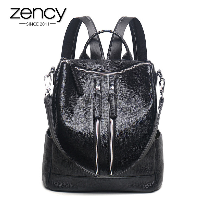 Zency Famous Brand New Style Women Genuine Leather Backpack Fashion Simple Travel Bags Female Knapsack Schoolbags Preppy zency famous brand 100% genuine leather women backpacks solid ladies travel bag preppy schoolbags for girls grey brown knapsack