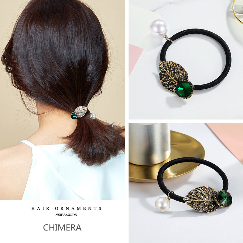 CHIMERA Vintage Leaf Hair Tie Rope Pearl Metal Ponytail Holder Green Rhinestone Elastic Hair Band Gum for Women Hair Accessories in Hair Jewelry from Jewelry Accessories