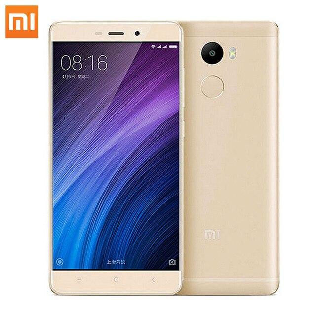 "Оригинал Xiaomi Redmi 4 2 ГБ RAM 16 ГБ ROM Snapdragon 430 Octa Ядро 4100 мАч Отпечатков Пальцев ID 5.0 ""13MP Redmi4 MIUI 8.1 Мобильный телефон"