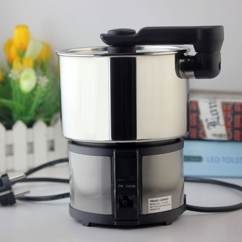 110V/220V Dual Voltage Travel Cooker Portable Mini Electric Rice Cooking Machine Hotel Student Multi Stainless Steel Cookers mini electric pressure cooker intelligent timing pressure cooker reservation rice cooker travel stew pot 2l 110v 220v eu us plug