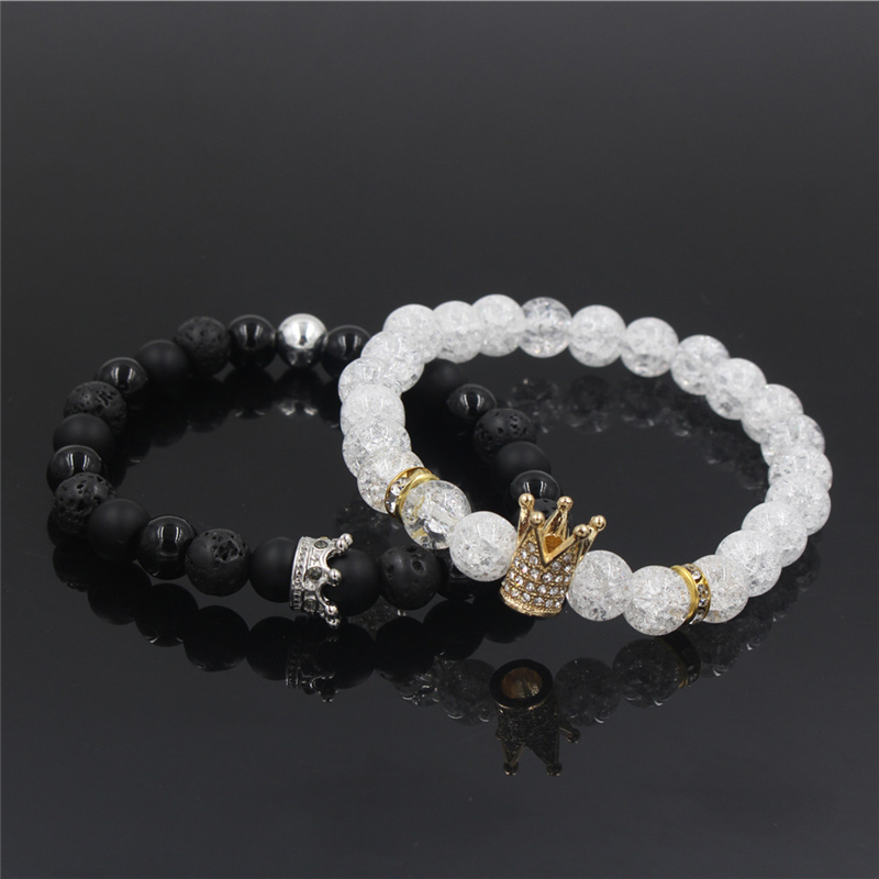 New 2Pc/Sets Natural 8/6mm Stone Beads Couple Bracelets for Women Micro Pave CZ Crown Charms Bracelet Men Jewelry Pulseras Mujer 10