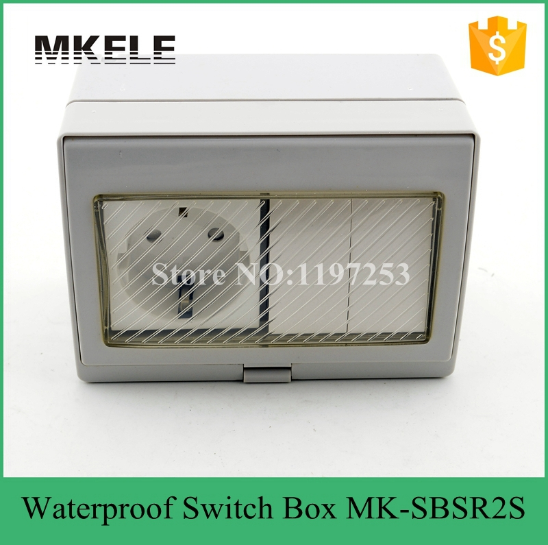 MK-SBSR2S hot sale 16A 250V rainproof outdoor wall mount switch box, 2 Gang mini waterproof push button switch with socketMK-SBSR2S hot sale 16A 250V rainproof outdoor wall mount switch box, 2 Gang mini waterproof push button switch with socket