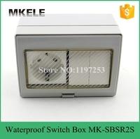 MK-SBSR2S venta caliente 16A 250 V impermeable al aire libre de montaje en pared caja de distribución, 2 Banda de mini impermeable push button switch con enchufe