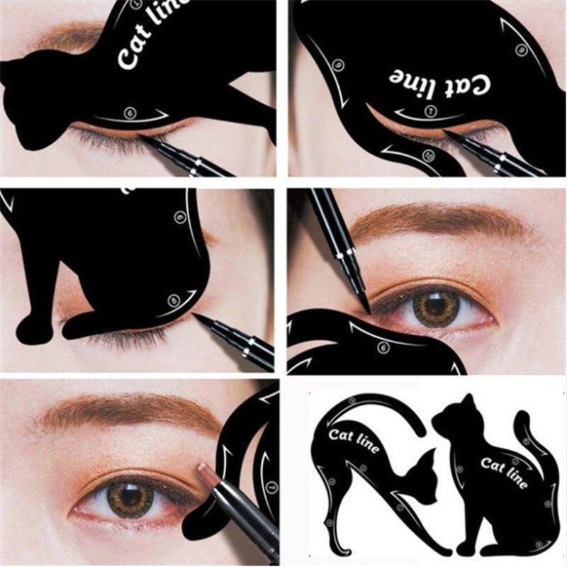 2Pcs Women Eyeliner Stencils Cat Line Pro Eye Makeup Tool Template Shaper Model Cat Eye Eyeliner Card Wholesale&Dropshipping