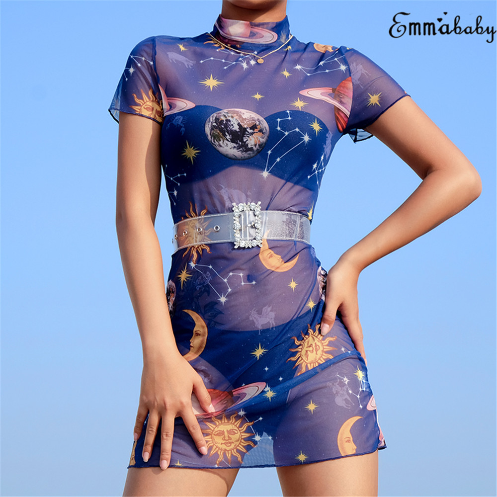 HTB10Y wNVzqK1RjSZFvq6AB7VXaH Sexy Summer 2019 Brand New Women Star Planet Print See Through Mesh Bodycon Short Sleeve Party Clubwear Mini Skinny Pencil Dress