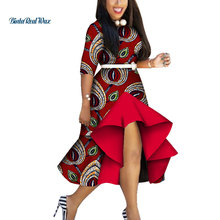 Dashiki African Dresses for Women Bazin Riche Print Cowboy Dresses Women African Clothing Patchwork Dresses WY3959