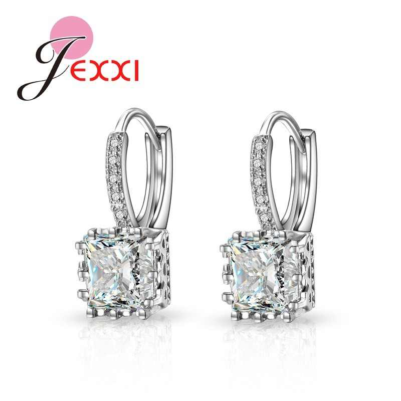 YAAMELI  Charming Unique Drop Earrings Trendy 925 Silver Square Crystal Statement Earrings for Women New Arrival Fashion Jewelry