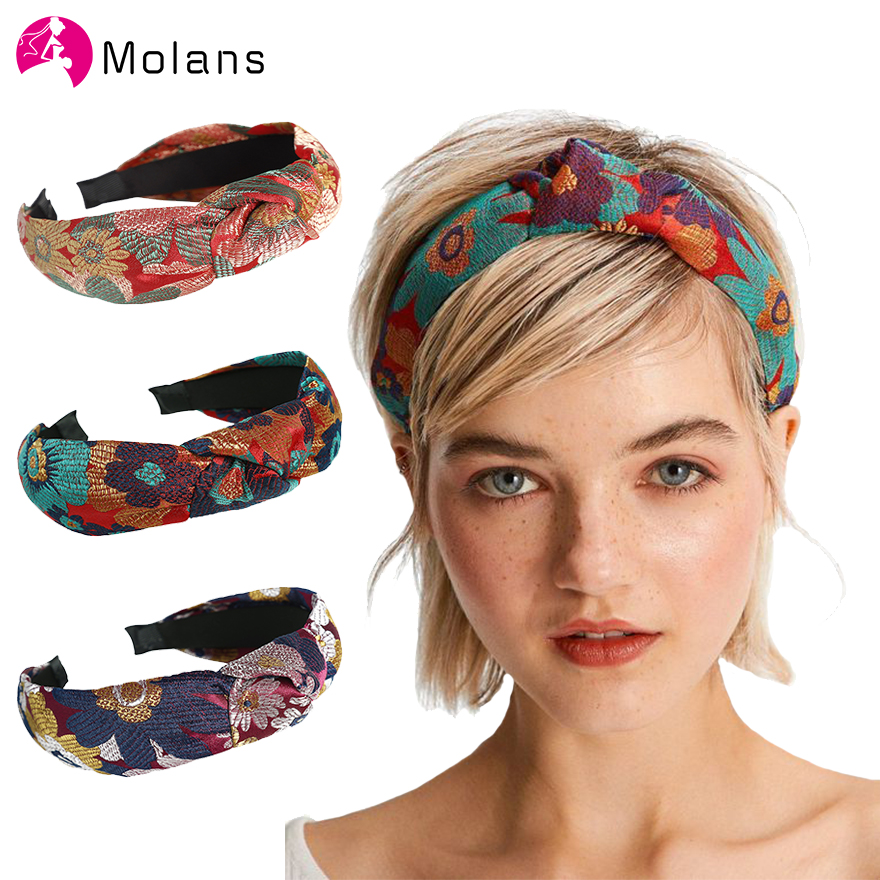 Molans Korean Women Hairbands Fabric Embroidered Flowers HeadBand Wide Printed Hair Hoop For Girl's Hair Accessories