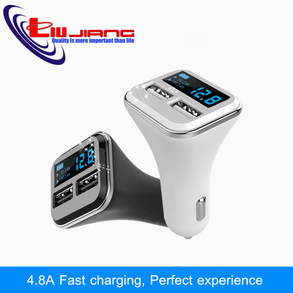 Dual USB Car Charger Adapter 4.8A Digital LED Voltage Current Display Auto Vehicle Charger For Samsung Smart Phone Tablet