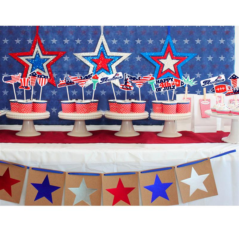 48pcs Fourth Of July 12 Design Indenpendence Cake Toppers Cupcake Picks Cases Kids Birthday Party Decoration Candy Bar In Decorating Supplies From Home