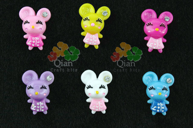 200pcs mix colors cute mouse in dress w/ rhinestone Flat Back Resins Cabochons  for diy Decoration 22mm minnie