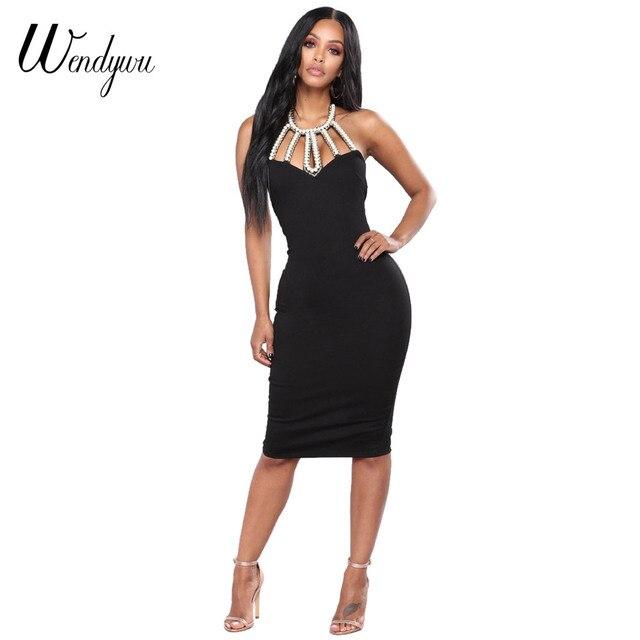 bffb1eaba3cd2 Wendywu Free Shipping New Summer Women Sexy Halter Sleeveless Backless  Crystal Black Knee-Length Pencil Dress