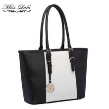 df96466bc2 Miss Lulu femmes Designer célébrité Center rayure sacs à main dames luxe M PU  cuir grand sacs à bandoulière Top-poignée fourre-t.