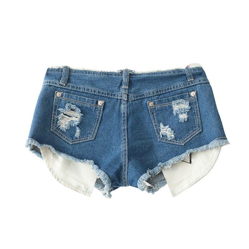 Blue Low Waist Ripped Pocket Short Femme Cut Off Denim Shorts ...