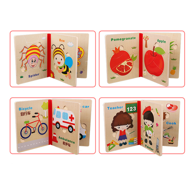 Baby Wooden Montessori Materials Educational Toys For Children Montessori Wooden Math Puzzles Book Toy For Kids Teaching Aids 3