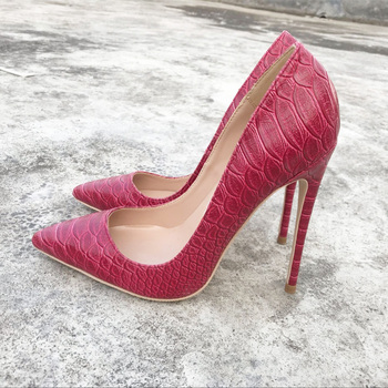 2019 Fashion free shipping red python snake Leather Poined Toe Stiletto Heel high heel shoe pump HIGH-HEELED SHOES dress shoe