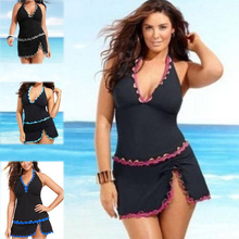 Halter Swimwear Dress Women Push Up Set Swimsuit Skirt Beachwear Swimwear 2017 Bathing Suit Tankini Plus Size